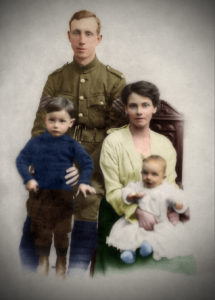 Karen Bearns' great Uncle sitting on his mothers lap, his father who died in the first World War.