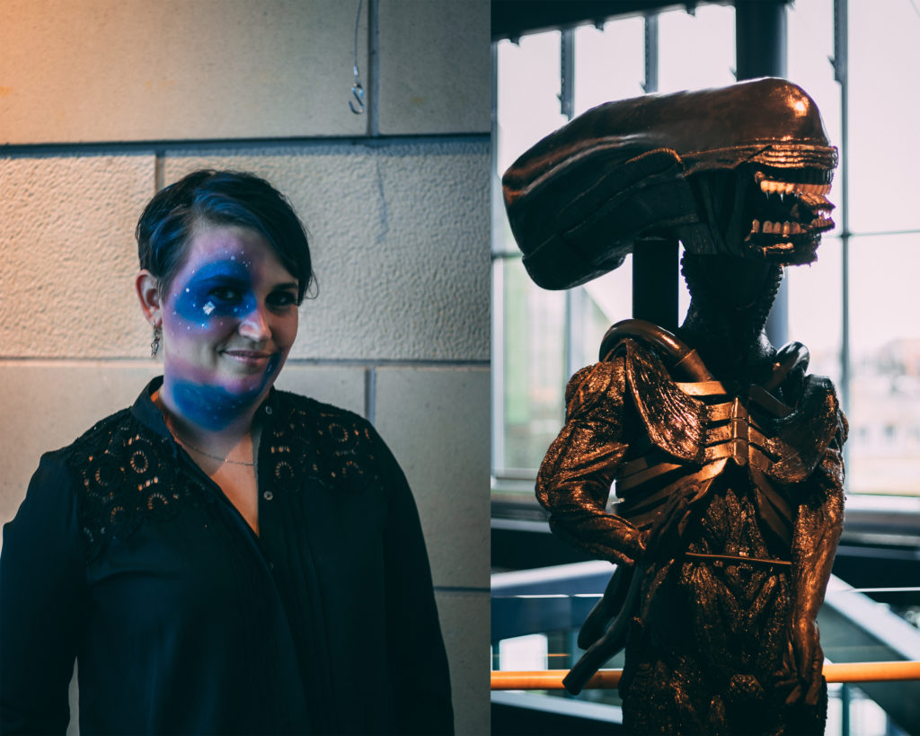 Kayla Burry arranged the Cosplay exhibit at The Rooms, on the right is Vanessa Pinsent's 'Xenomorph' costume. Mugford/Kicker