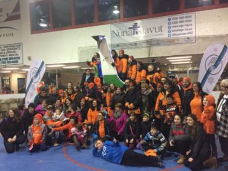 Team Orange pictured in March of 2016 when they won first place at the Labrador Winter Games. Submitted Photo.