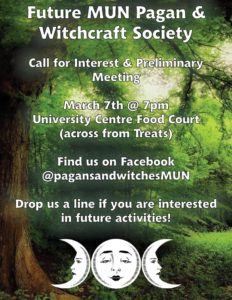 Poster for preliminary pagan and witchcraft society meeting