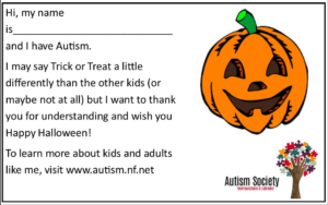 Halloween handouts from Autism Society of Newfoundland and Labrador