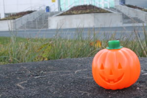 A pumpkin beside the stairs at College of the North Atlantic