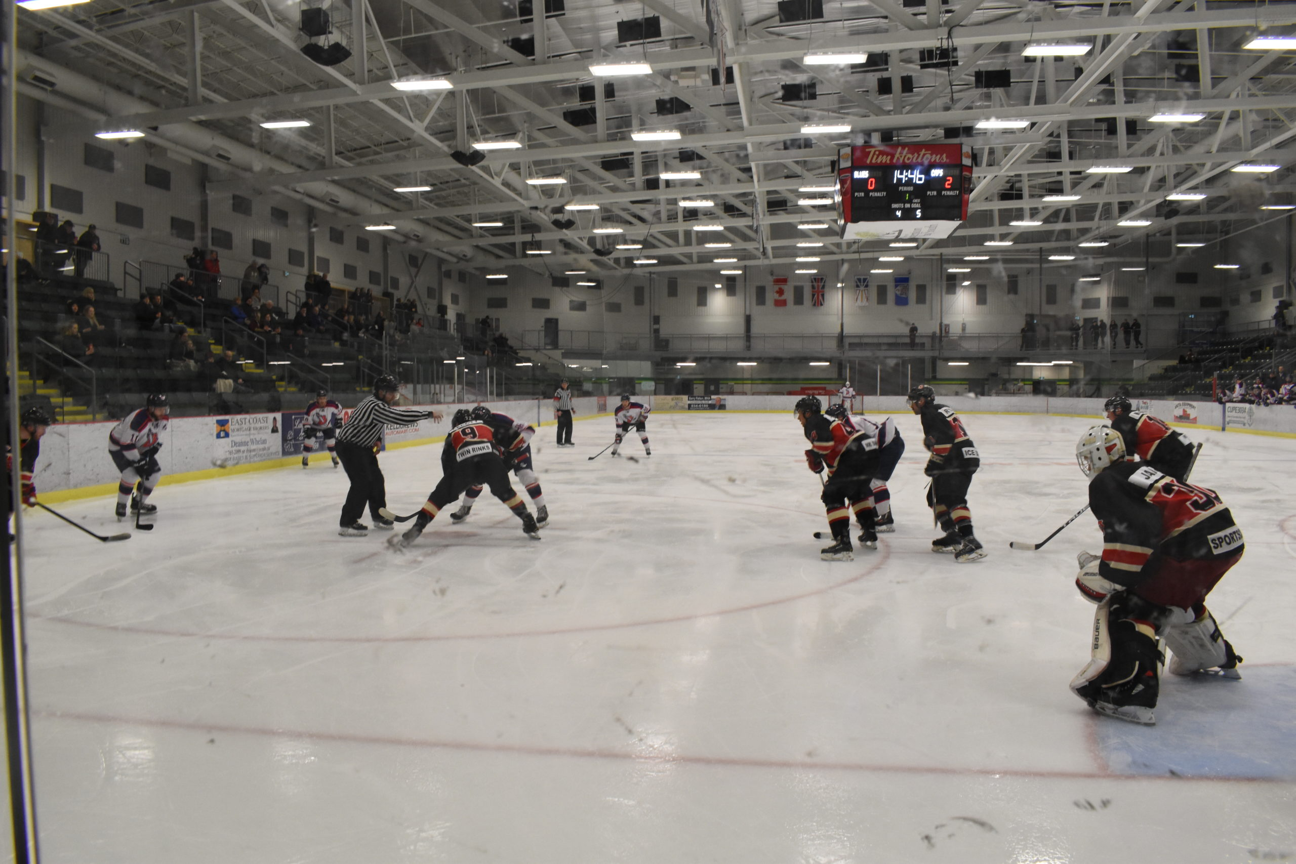 An offensive zone faceoff for the C.B.S Blues after falling 2-0 against the St. Johns Caps.