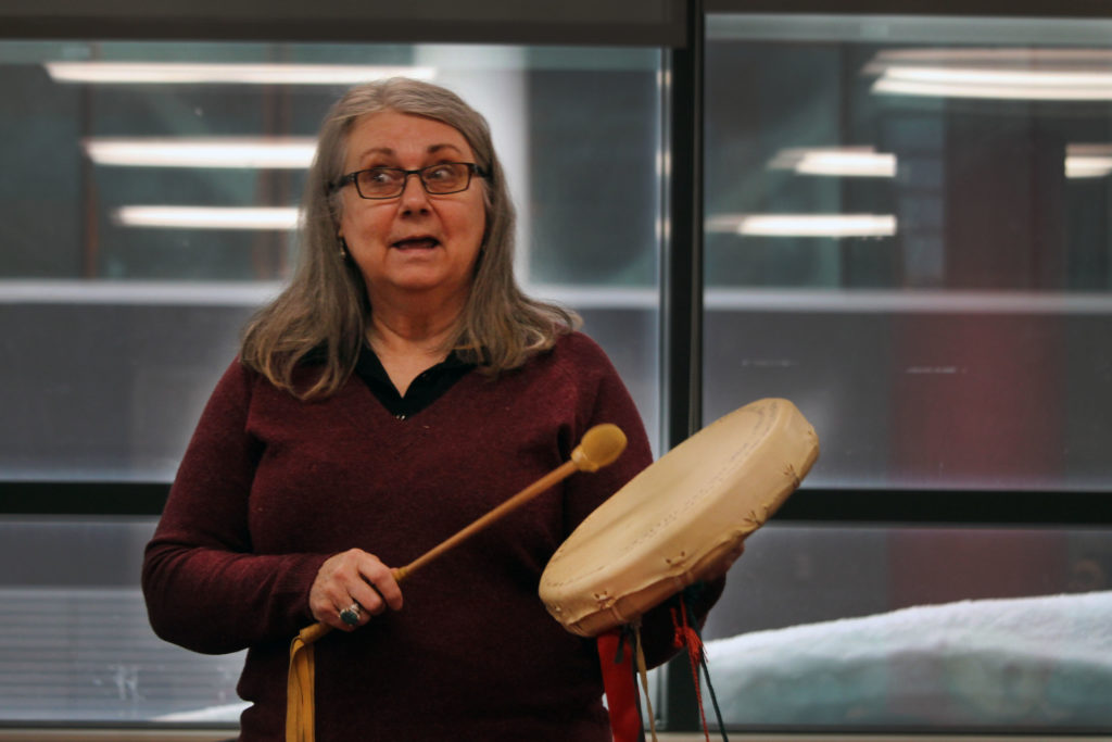 Marie Eastman is a Knowledge Keeper who teaches drumming to students at Memorial University.