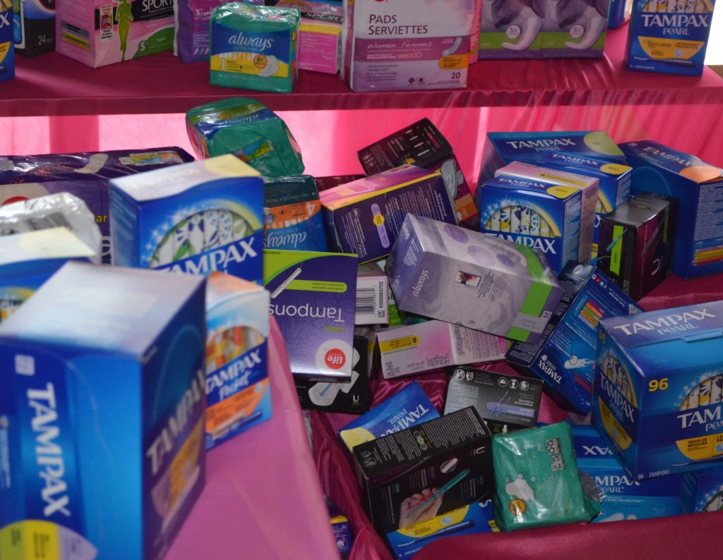 Donations of menstrual products at Tampon Tuesday. Anna Murphy/ Kicker.
