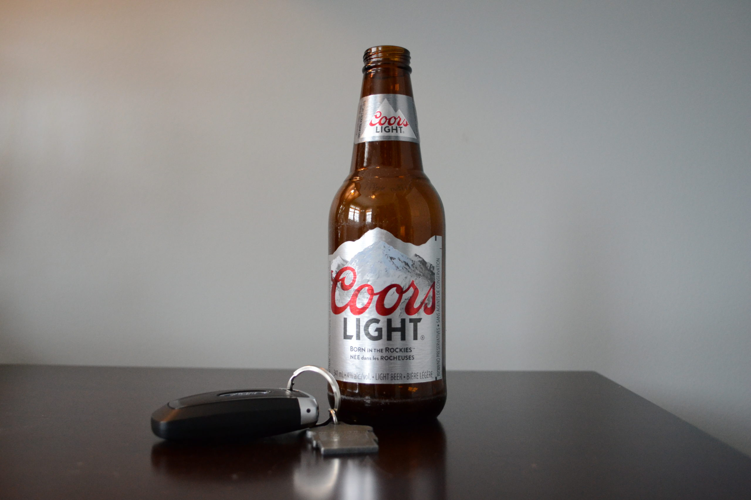 A bottle of beer and car keys. MADD Canada and the RNC both promote awareness about impaired driving. One way to get the message out are radio ads. Henrike Wilhelm