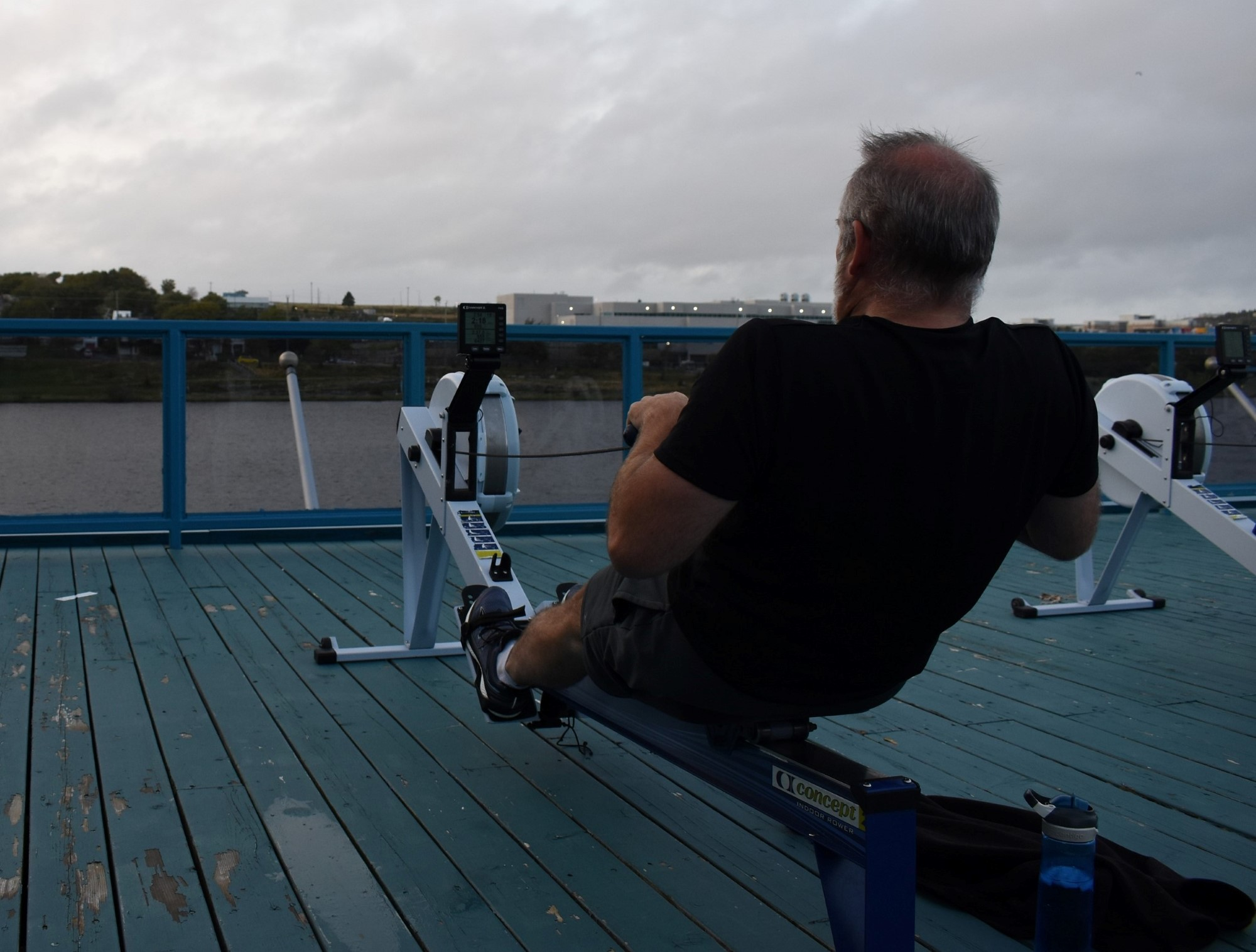 Keith Bussey is the stroke oar for his rowing team. Since the boathouse has opened up rowers like Bussey can return to train