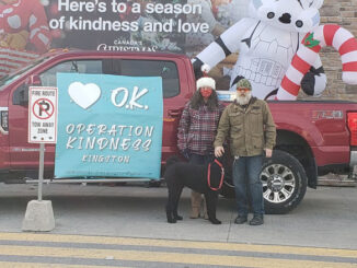 Photo of 2 volunteers for Operation Kindness outside a local Canadian Tired