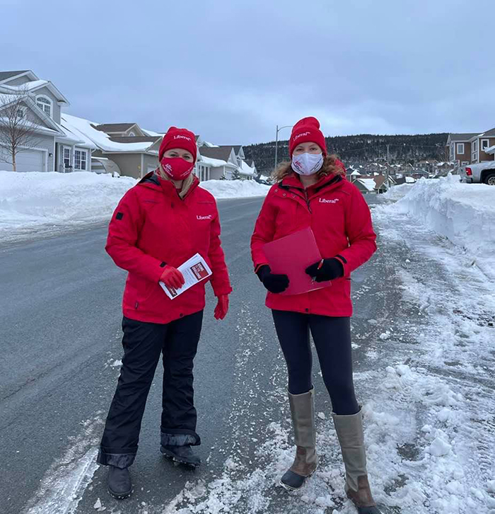 Lynn Hammond (left) and Allison Furey (Right) are doing some campaigning in Paradise. They are trying to get more voters out to the polls on February 13th. Photo supplied by Lynn Hammond