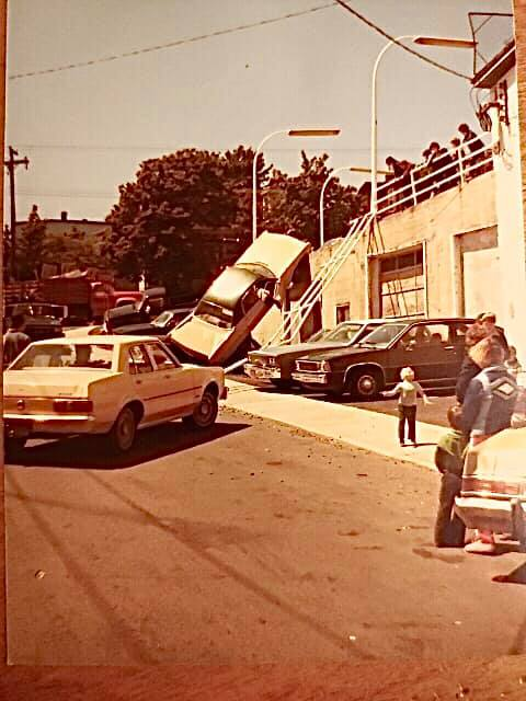 A car accident in downtown st. john's in the 1970's.