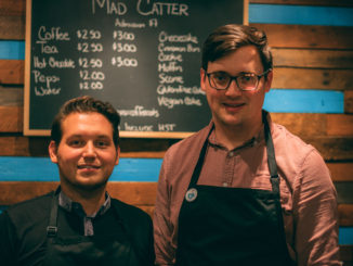 The owners of the Mad Catter, Josh Eddy (leftL and Colin Williams got the idea of a cat café when visiting Europe. Mugford/Kicker.
