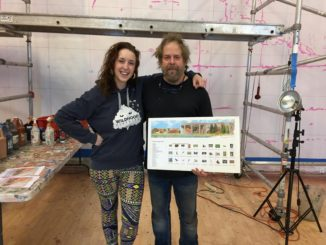 Wendy Morgan worked alongside John Pugh in the commission of a larger-than-life mural for the Denver Zoo. Morgan worked on the project for three weeks in California.