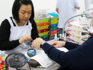 Kate Le in action at Nails Time on Torbay Road.