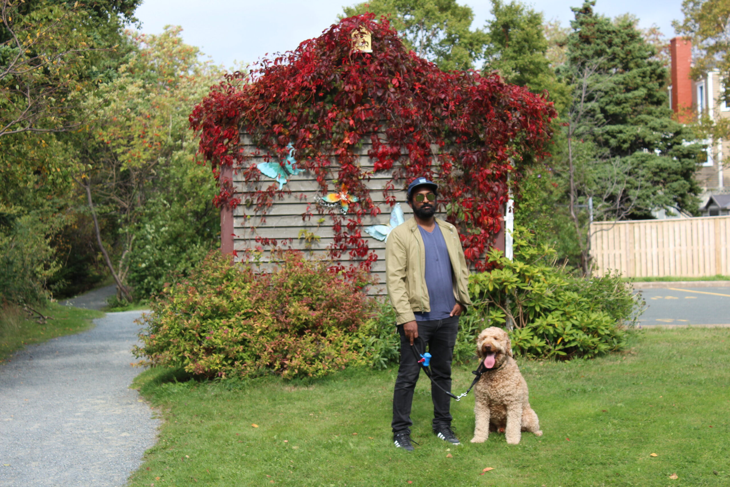 Thavanathan with the family dog