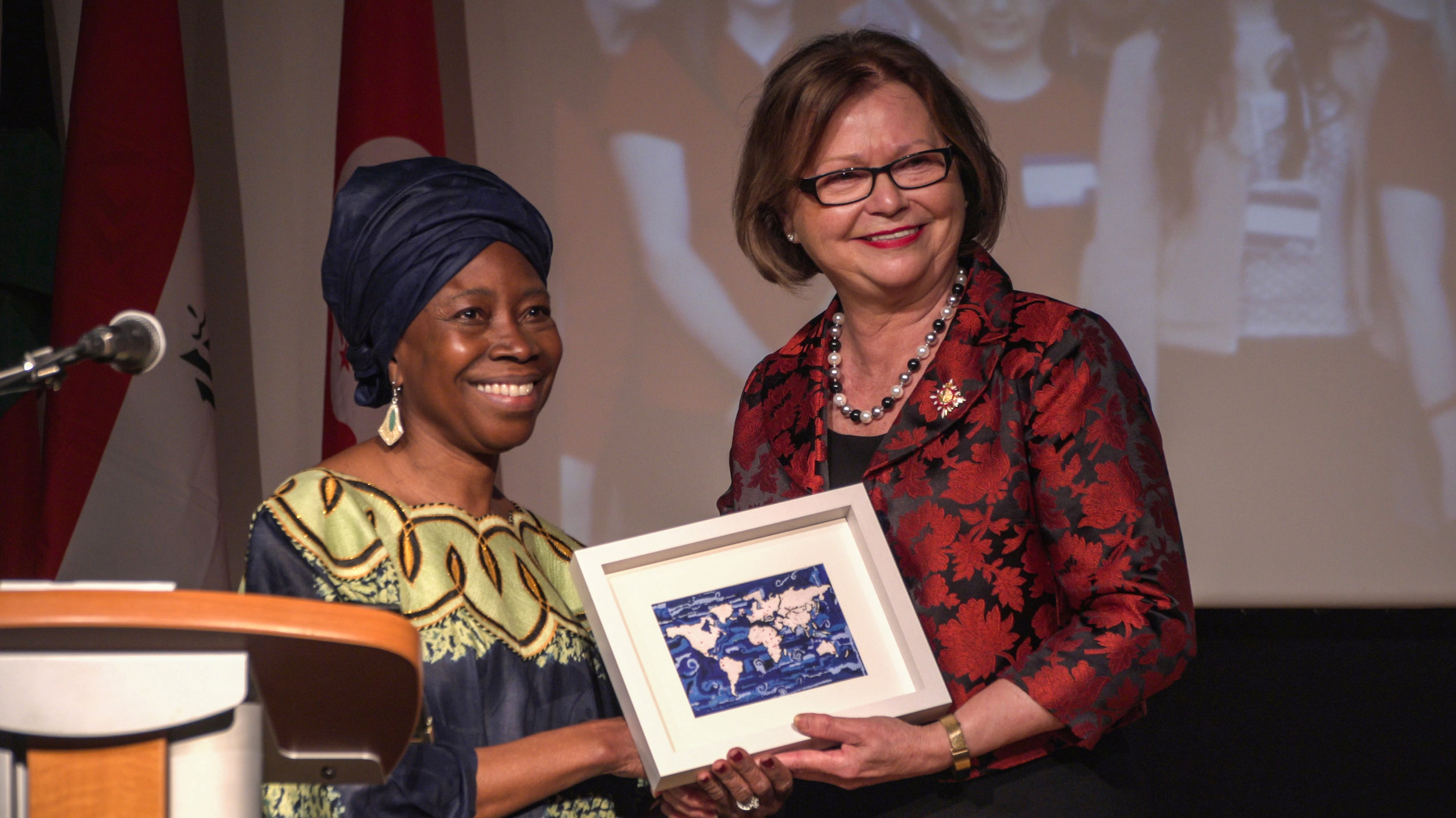 Lloydetta Quaicoe and Judy Foote at the 20th anniversary of Sharing Our Cultures.