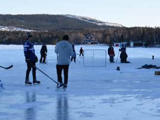 Lawrence Pond is a popular spot for pond hockey. Many kids are making up for their hockey seasons being cancelled.