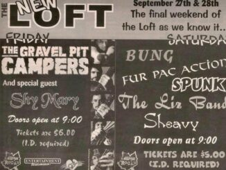 VIntage show poster from a show at The Loft, featuring BUng, Fur Packed Action, Spunk, LIzband, and Sheavy.