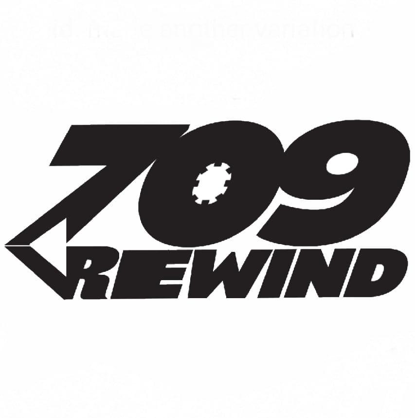 Logo for 709 Rewind, podcast from St. John's, Newfoundland exploring rock and metal history.