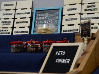 A display of keto-friendly snacks at the Keto Corner.
