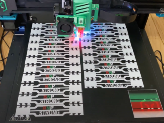 photo of 3D printer creating ear straps for facemasks